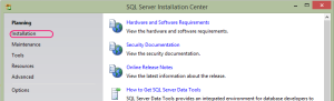 "SQL 2012 or SQL 2014 installation step 1 ... Launch the installation by running setup.exe, click on ""Installation"""