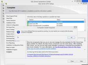 SQL 2012 or SQL 2014 installation step 23