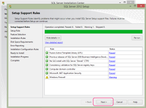 SQL 2012 or SQL 2014 installation step 7