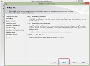 SQL 2012 or SQL 2014 installation step 8