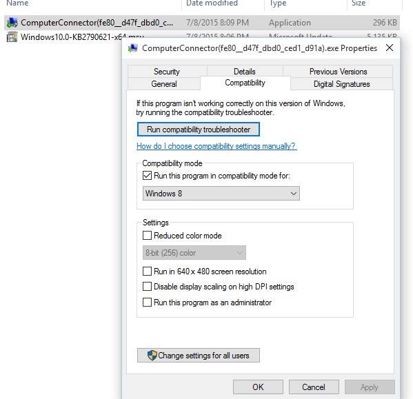 how to change back windows compatibility mode to 10